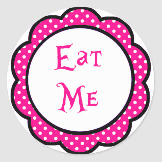 Alice In Wonderland Eat Me Party Favors Round Sticker