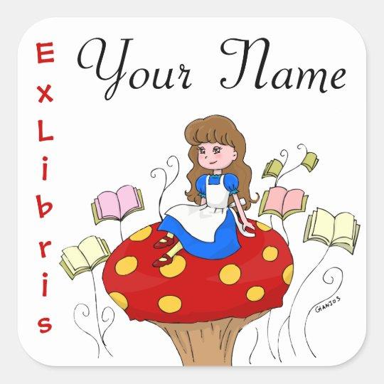 Alice in Wonderland Ex Libris book label