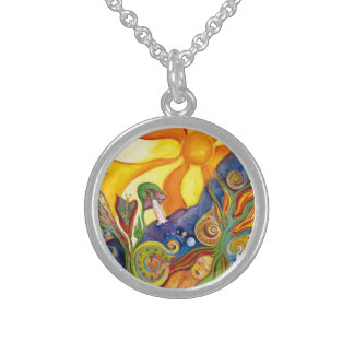 Alice In Wonderland Fantasy Fairy Sunshine Dream Round Pendant Necklace