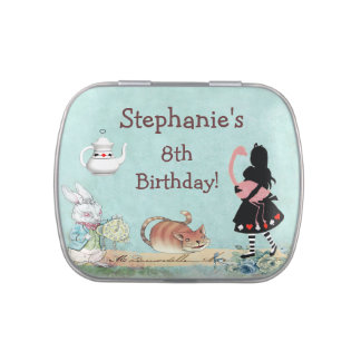 Alice in Wonderland Flamingo Birthday Party Favor Jelly Belly Tin