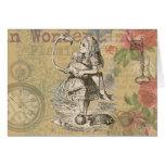 Alice in Wonderland Flamingo Greeting Card