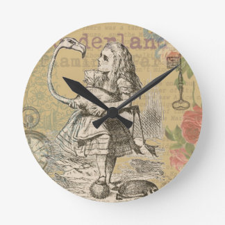 Alice in Wonderland Flamingo Mad Tea Party Round Clock