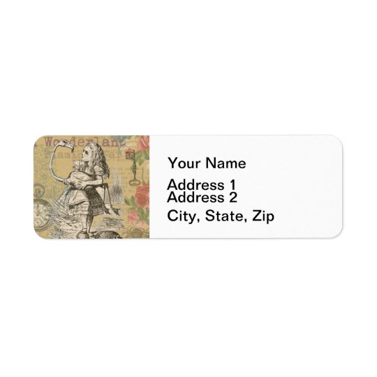 Alice in Wonderland Flamingo Return Address Label
