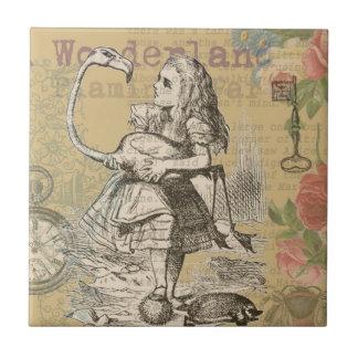 Alice in Wonderland Flamingo Vintage Tile