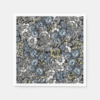 Alice in Wonderland Floral Garden Napkins Paper Napkins