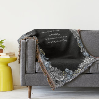 Alice in Wonderland Floral Quote Throw Blanket