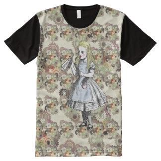 Alice in Wonderland Flower Garden Pattern T-Shirt