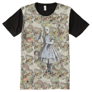 Alice in Wonderland Flower Garden Pattern T-Shirt All-Over Print T-Shirt