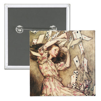 Alice in Wonderland Flying Cards Button