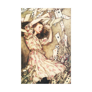 Alice in Wonderland Flying Cards Canvas Print