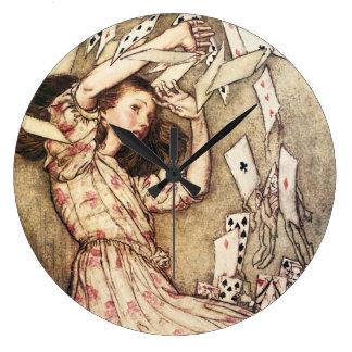 Alice in Wonderland Flying Cards Clock