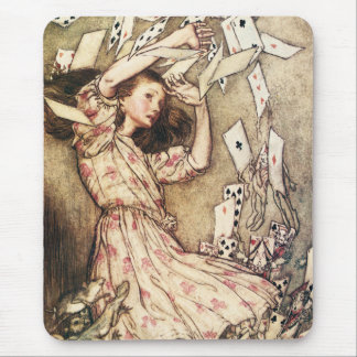Alice in Wonderland Flying Cards Mouse Pad