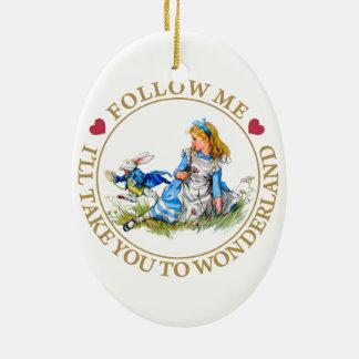 Alice In Wonderland - Follow Me Ceramic Oval Decoration