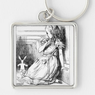 Alice in Wonderland Following White Rabbit Silver-Colored Square Key Ring