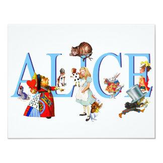 ALICE IN WONDERLAND & FRIENDS 11 CM X 14 CM INVITATION CARD