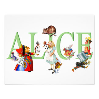 ALICE IN WONDERLAND FRIENDS PERSONALIZED INVITATIONS