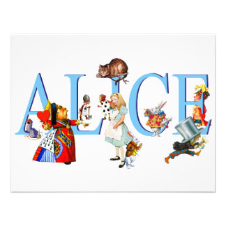 ALICE IN WONDERLAND FRIENDS PERSONALIZED ANNOUNCEMENT