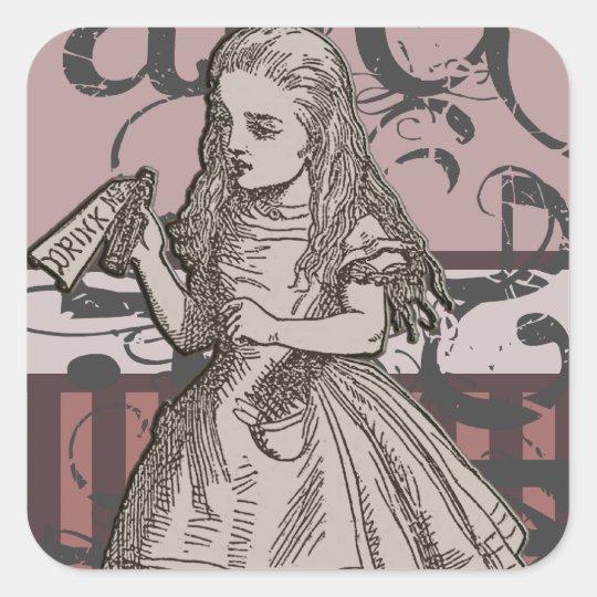 Alice In Wonderland Grunge Square Sticker Zazzlecouk