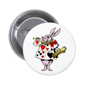 Alice in Wonderland Hare, Card and trumpet - Tale Buttons