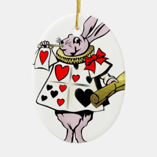 Alice in Wonderland Hare Card and trumpet - Tale Christmas Ornament