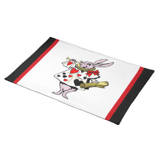 Alice in Wonderland Hare, Card and trumpet - Tale Placemats