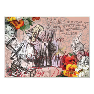 Alice in Wonderland Hatter and Rabbit 11 Cm X 16 Cm Invitation Card