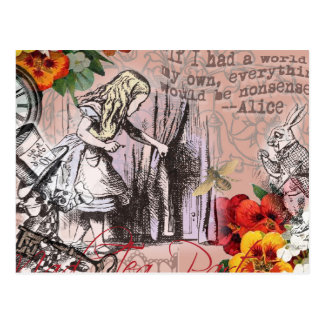 Alice in Wonderland Hatter and Rabbit Postcard