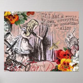 Alice in Wonderland Hatter and Rabbit Poster