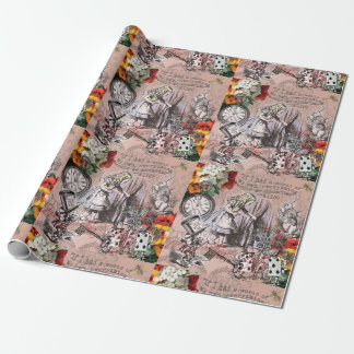 Alice in Wonderland Hatter and Rabbit Wrapping Paper