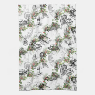 Alice in Wonderland Holly Christmas Tea Towel