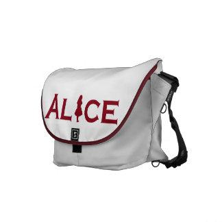 Alice in Wonderland in Burgundy Messenger Bag