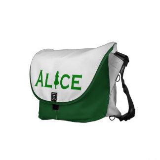 Alice in Wonderland in Green Messenger Bags