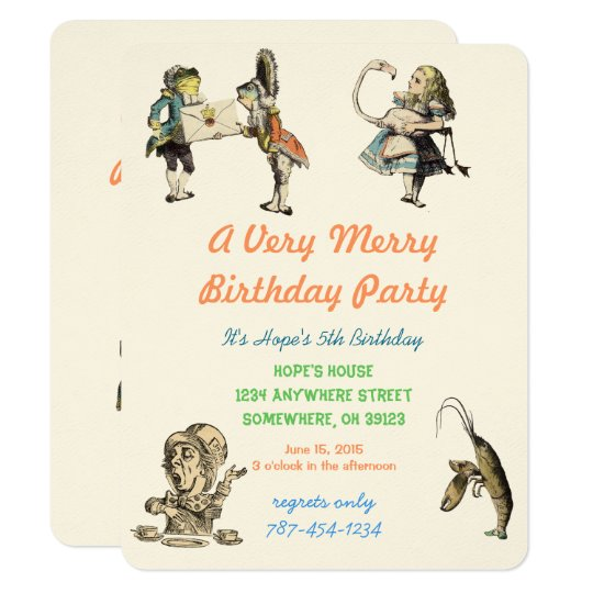 Alice In Wonderland Invitation Birthday Party
