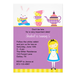 Alice in Wonderland Invitations Personalized Announcements