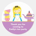 Alice in Wonderland Invitations Stickers Round Sticker