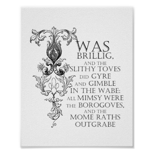Alice In Wonderland Jabberwocky Poem Poster Sign