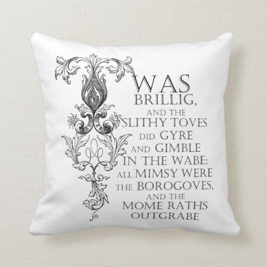 Alice In Wonderland Jabberwocky Poem Throw Pillow