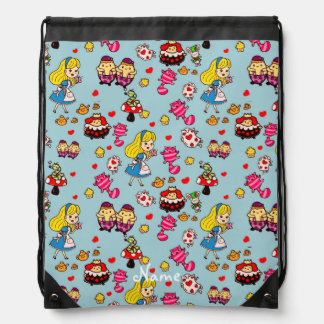 Alice in Wonderland Kawaii Doodle art Drawstring Bag