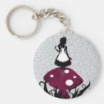 Alice in Wonderland Keychan Basic Round Button Key Ring