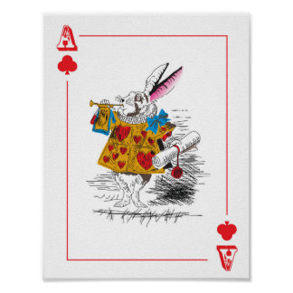 Alice in Wonderland - Large Playing Card - Rabbit Poster