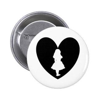 Alice in Wonderland Love In Black & White 6 Cm Round Badge