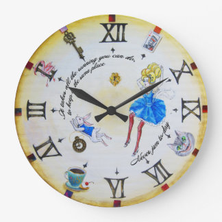 Alice in Wonderland mad  contraclockwise Large Clock