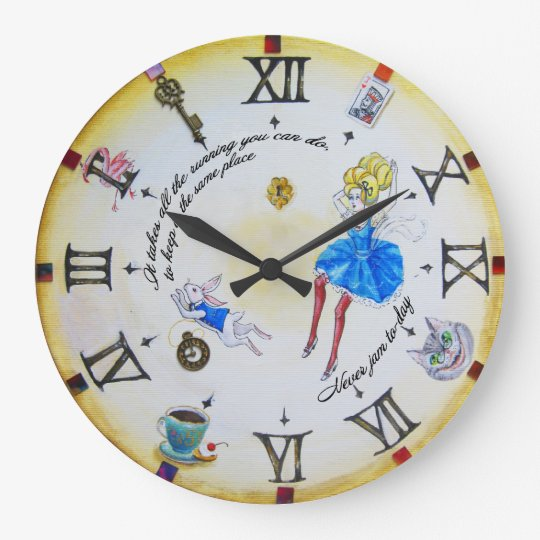 Alice in Wonderland mad contraclockwise Wall Clocks