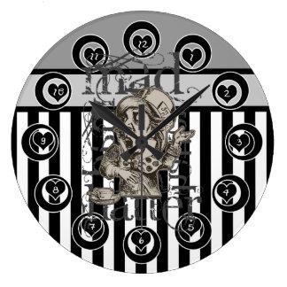 Alice In Wonderland Mad Hatter Grunge Large Clock