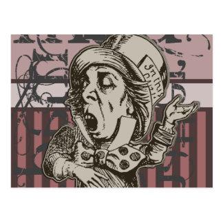 Alice In Wonderland Mad Hatter Grunge (Pink) Postcard