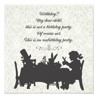 Alice in Wonderland Mad Hatter Tea Party Birthday 13 Cm X 13 Cm Square Invitation Card