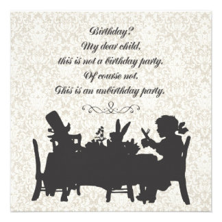 Alice in Wonderland Mad Hatter Tea Party Birthday Personalized Invitation