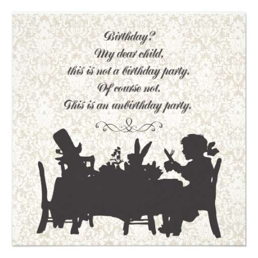 Alice in Wonderland Mad Hatter Tea Party Birthday Personalized Invitations