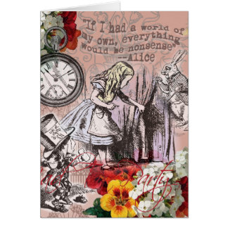 Alice in Wonderland Mad Hatter White Rabbit Greeting Card