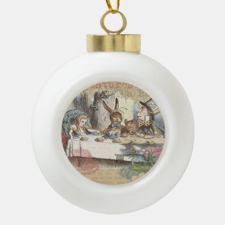Alice in Wonderland Mad Tea Party Ceramic Ball Christmas Ornament